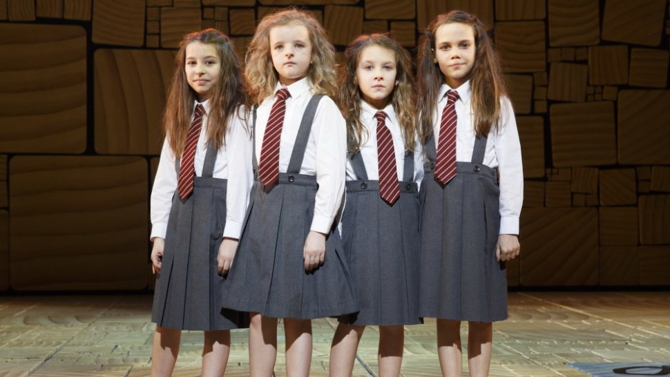 Bailey Ryon, Milly Shapiro, Sophia Gennusa and Oona Lawrence in <i>Matilda The Musical</i>&#8220;><figcaption><span class=